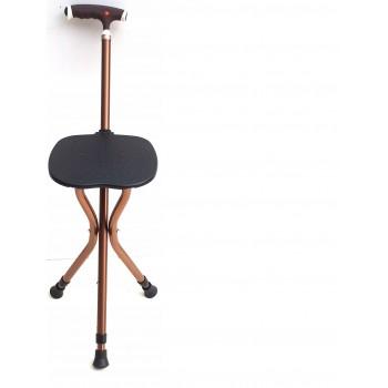 Nastaviteľná vychádzková palica so sklopnou stoličkou s LED svetlom