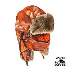 Baranica s odnímateľnou tvárovou maskou Jesenný vzor Oranžový