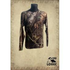 Outdoorové tričko dlhý rukáv Letný vzor hnedý